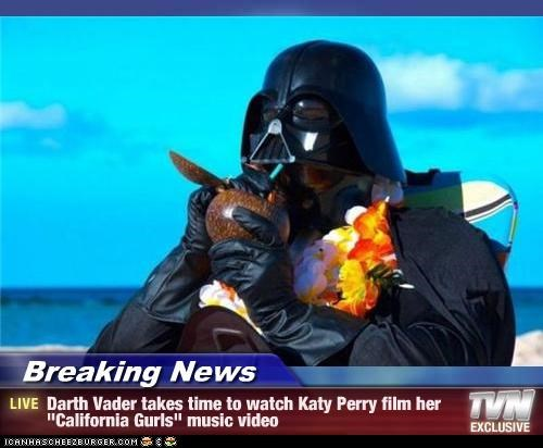 "Breaking News - Darth Vader takes time to watch Katy Perry film her ""California Gurls"" music video"