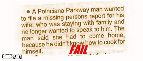 Missing Person Excuse FAIL!