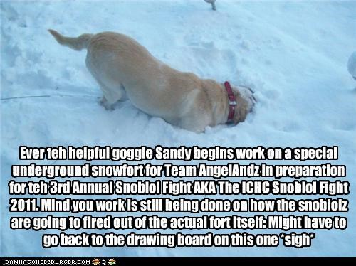 Ever teh helpful goggie Sandy begins work on a special underground snowfort for Team AngelAndz in preparation for teh 3rd Annual Snoblol Fight AKA The ICHC Snoblol Fight 2011. Mind you work is still being done on how the snoblolz are going to fired out of