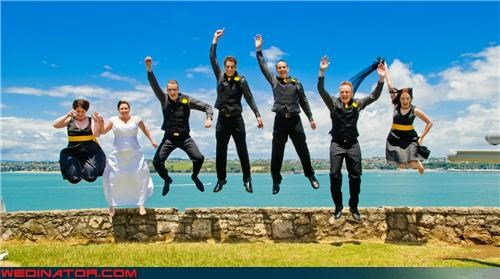 auckland jumping picture,bride,Crazy Brides,crazy groom,fashion is my passion,funny jumping wedding picture,funny wedding photos,groom,jumping for joy,jumping trend,jumping wedding party,technical difficulties,wedding party