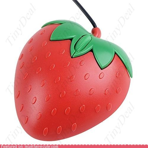 accessory,computer,mouse,optical mouse,strawberry