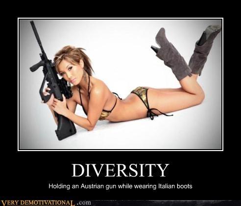 babe,bikini,boots,diversity,fashion,guns,jokes