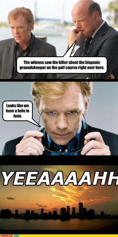 csi,golf,Horatio,juan,murder,puns,TV,yeah