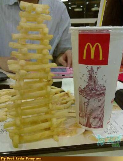 Funny Food Photos - French Fry Stacking