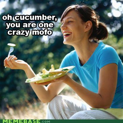 Captioned Woman Laughing Alone With Salad!
