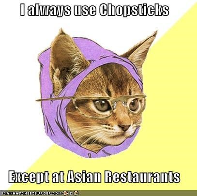 Hipster Kitty: Forks Are For Squares