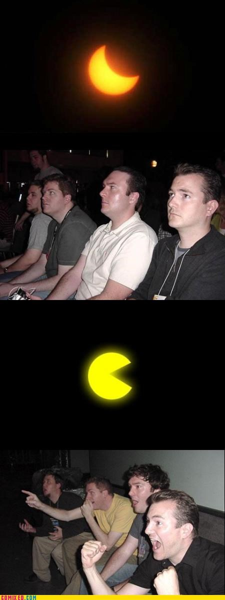 eclipse,moon,pac man,reaction guys,space