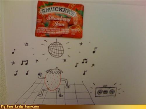 condiments,dancing,jam,jamming,labels,Music,strawberry,strawberry jam
