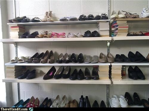 books,closet,holding it up,shoe repairs