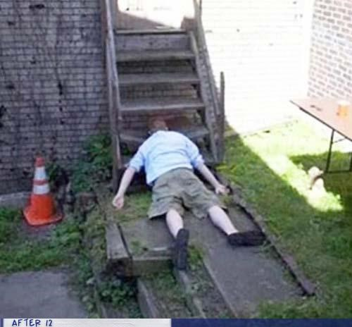 head,ouch,passed out,step