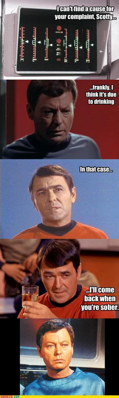 drinking,McCoy,scotty,Star Trek,tricksy