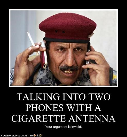 TALKING INTO TWO PHONES WITH A CIGARETTE ANTENNA