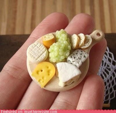 bread,cheese,epicute,food,grapes,hand made,miniature