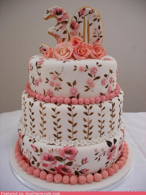 30,birthday,cake,epicute,fondant,hand painted,Painted,roses