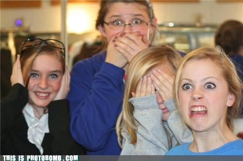 awesome face,girls,hear no evil,photobomb,see no evil,speak no evil