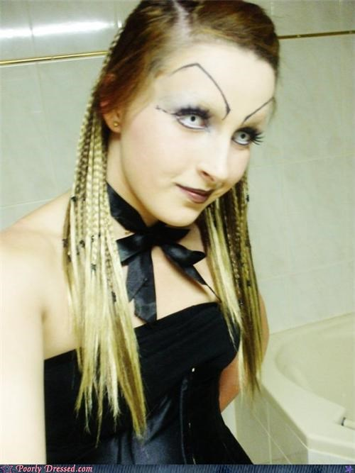 braids,contacts,eyebrows,goth,scary