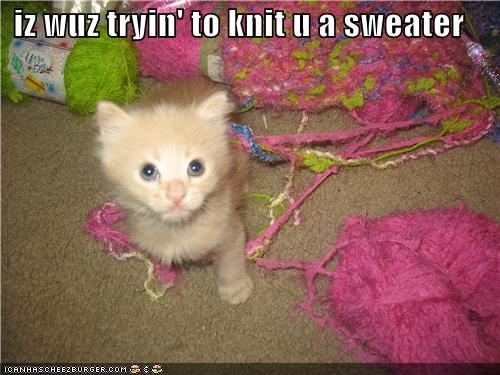 iz wuz tryin' to knit u a sweater