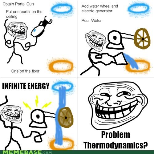 infinite energy,now-youre-thinking-with-portals,Portal,the cake is a lie,troll science,video games,water