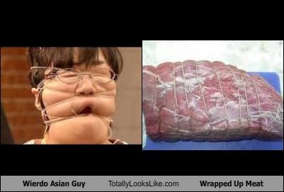 Wierdo Asian Guy Totally Looks Like Wrapped Up Meat