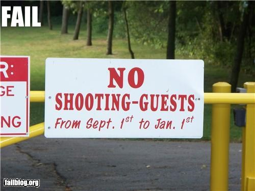 Oddly Specific: No Shooting Guests