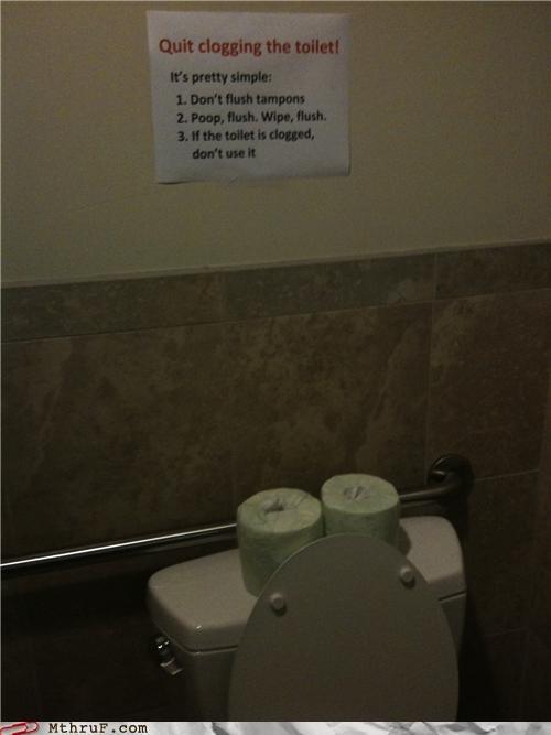 bathroom,clog,note,signs,toilet