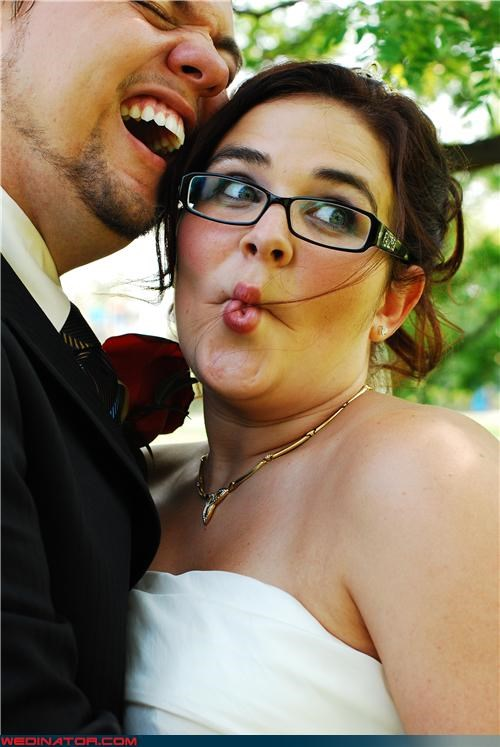 aww,bride,fashion is my passion,fish face,fish face bride,funny bride picture,funny faces wedding picture,funny wedding photos,groom,laughing groom,surprise,were-in-love