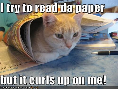 I try to read da paper   but it curls up on me!