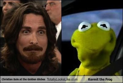 Christian Bale at the Golden Globes Totally Looks Like Kermit the Frog