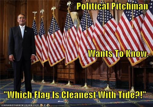 "Political Pitchman Wants To Know,  ""Which Flag Is Cleanest With Tide?!"""