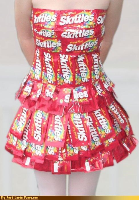 candy,dress,rainbow,skittles,skittles dress,Sweet Treats,wrappers