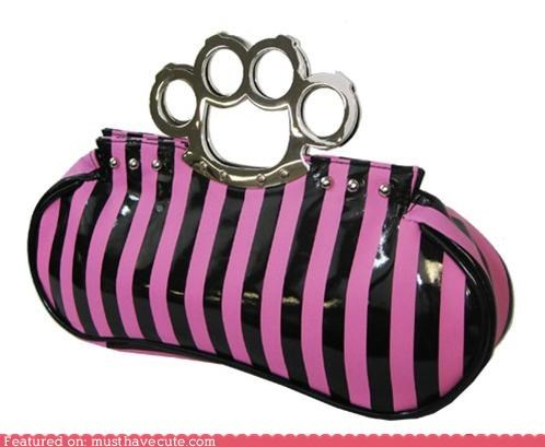 brass knuckles,clutch,pink,purse,stripes,weapon