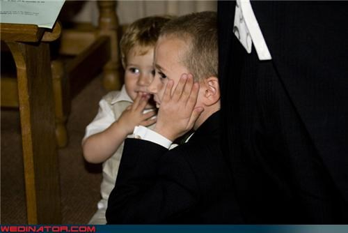 bride and groom sitting in a tree,eww,ewww kissing,funny kids at wedding,funny wedding photos,grossed out kids,miscellaneous-oops,surprise,weddings 101