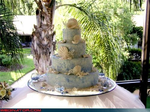 beach-themed wedding cake,beachy wedding cake,bride,crunchy wedding cake,Dreamcake,eww,funny wedding photos,groom,no shell please,ocean themed wedding cake,technical difficulties,themed wedding cake,wedding cake picture,Wedding Themes
