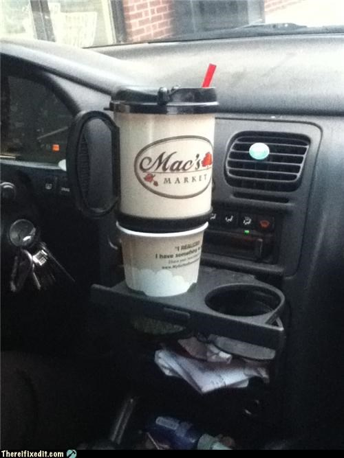 Holding Cup with a Cup in the Cup Holder