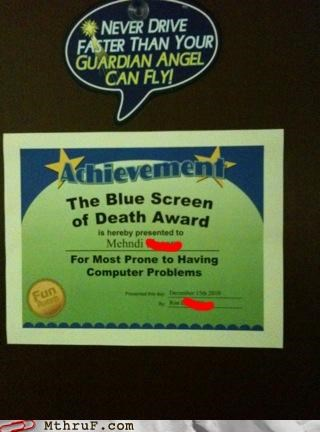 achievement,blue screen of death,bsod,note,signs
