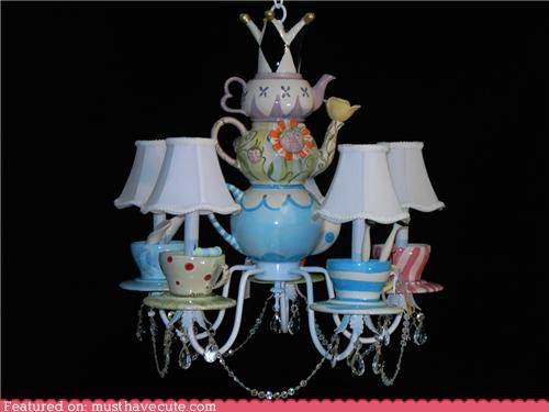 chandelier,decor,light,teacups,Teapots