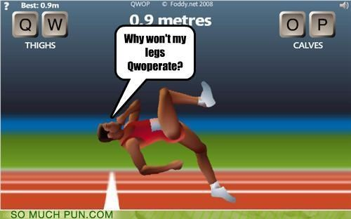 cooperate,game,off-rhyme,prefix,question,QWOP,rhyme,substitution,video game