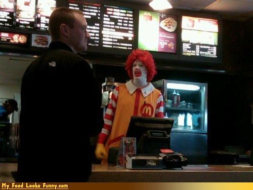 Funny Food Photos - Ronald McDonald Working Behind Counter at McDonald's