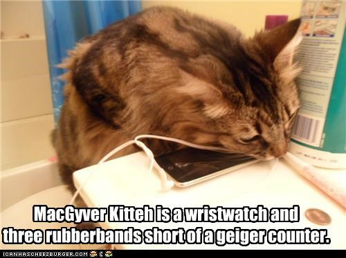 MacGyver Kitteh is a wristwatch and three rubberbands short of a geiger counter.