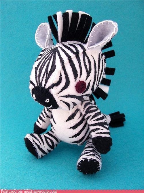 hand made,mohawk,Plush,punk rock,zebra