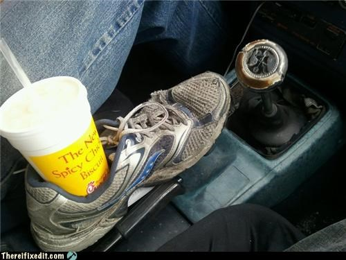car,cup holder,dirty,gross,shoes