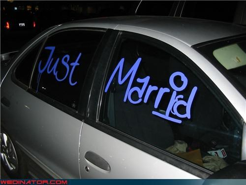 bride,decorated wedding getaway car,funny wedding accident,funny wedding photos,groom,Just Marrid,miscellaneous-oops,misspelled getaway car,spell check,surprise,technical difficulties,wedding getaway car,whoops,wtf