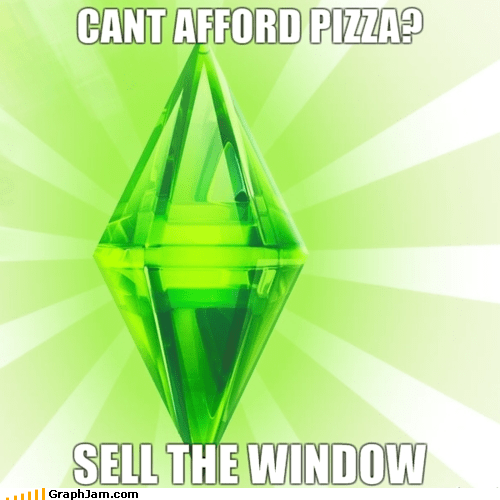 attain pizza,Memes,sell window,The Sims,video games