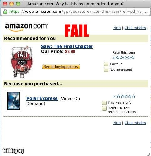 amazon,childrens,dvds,failboat,g rated,horros,online,polar express,recommendations,saw,shopping