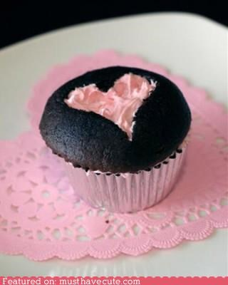 chocolate,cupcake,epicute,frosting,heart,pink,valentine