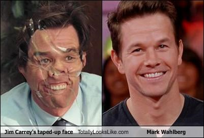 Jim Carrey's taped-up face Totally Looks Like Mark Wahlberg