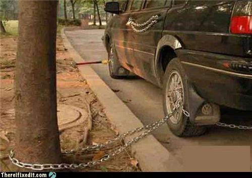 cars,cautionary fail,chains,locked up