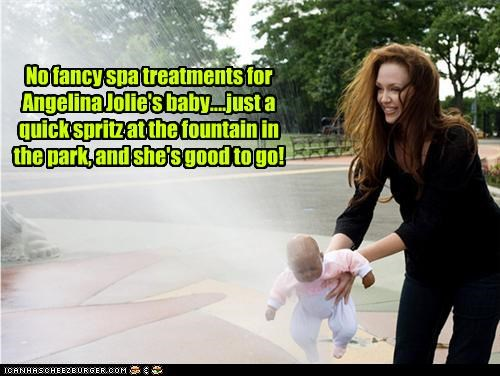 No fancy spa treatments for Angelina Jolie's baby....just a quick spritz at the fountain in the park, and she's good to go!