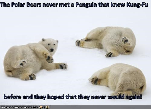 The Polar Bears never met a Penguin that knew Kung-Fu  before and they hoped that they never would again!