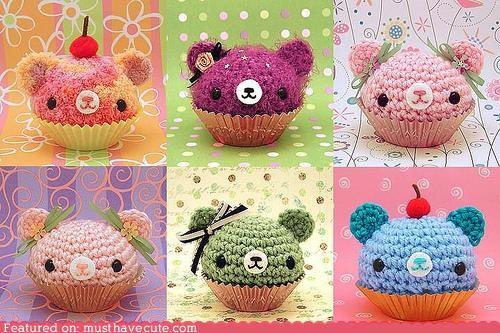 Amigurumi,bear,crochet,cupcakes
